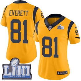Wholesale Cheap Nike Rams #81 Gerald Everett Gold Super Bowl LIII Bound Women\'s Stitched NFL Limited Rush Jersey