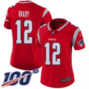 Wholesale Cheap Nike Patriots #12 Tom Brady Red Women's Stitched NFL Limited Inverted Legend 100th Season Jersey