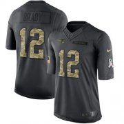 Wholesale Cheap Nike Patriots #12 Tom Brady Black Youth Stitched NFL Limited 2016 Salute to Service Jersey