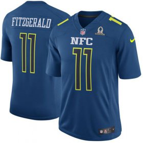 Wholesale Cheap Nike Cardinals #11 Larry Fitzgerald Navy Men\'s Stitched NFL Game NFC 2017 Pro Bowl Jersey
