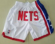 Wholesale Cheap Men's Brooklyn Nets White Just Don Shorts Swingman Shorts