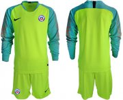 Wholesale Cheap Chile Blank Shiny Green Goalkeeper Long Sleeves Soccer Country Jersey