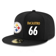 Wholesale Cheap Pittsburgh Steelers #66 David DeCastro Snapback Cap NFL Player Black with White Number Stitched Hat