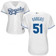 Wholesale Cheap Royals #51 Jason Vargas White Home Women's Stitched MLB Jersey