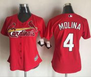 Wholesale Cheap Cardinals #4 Yadier Molina Red Women's Alternate Stitched MLB Jersey