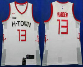 Wholesale Cheap Men\'s Houston Rockets #13 James Harden White 2020 Nike City Edition Swingman Jersey With The Sponsor Logo