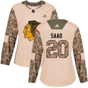 Wholesale Cheap Adidas Blackhawks #20 Brandon Saad Camo Authentic 2017 Veterans Day Women's Stitched NHL Jersey