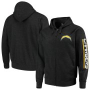 Wholesale Cheap Los Angeles Chargers G-III Sports by Carl Banks Post Route Full-Zip Hoodie Charcoal