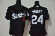 Wholesale Cheap Los Angeles Dodgers #8 #24 Kobe Bryant Women Nike Black Cool Base 2020 KB Patch MLB Jersey