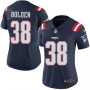 Wholesale Cheap Nike Patriots #38 Brandon Bolden Navy Blue Women's Stitched NFL Limited Rush Jersey