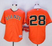 "Wholesale Cheap Giants #28 Buster Posey Orange Old Style ""Giants"" Stitched MLB Jersey"