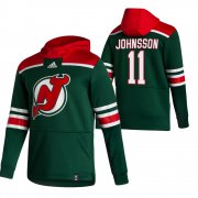 Wholesale Cheap New Jersey Devils #11 Andreas Johnsson Adidas Reverse Retro Pullover Hoodie Green