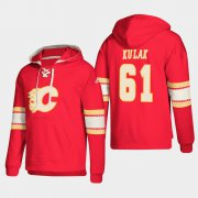Wholesale Cheap Calgary Flames #61 Brett Kulak Red adidas Lace-Up Pullover Hoodie