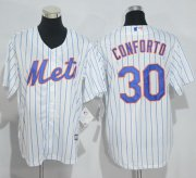Wholesale Cheap Mets #30 Michael Conforto White(Blue Strip) Home Cool Base Stitched Youth MLB Jersey