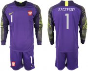 Wholesale Cheap Poland #1 Szczesny Purple Goalkeeper Long Sleeves Soccer Country Jersey