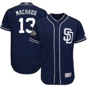 Wholesale Cheap San Diego Padres #13 Manny Machado Majestic Flex Base Authentic Stitched MLB Jersey Navy