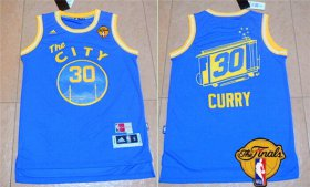 Wholesale Cheap Men\'s Golden State Warriors #30 Stephen Curry Retro Blue 2016 The NBA Finals Patch Jersey