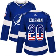 Cheap Adidas Lightning #20 Blake Coleman Blue Home Authentic USA Flag Women's Stitched NHL Jersey