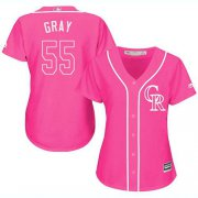 Wholesale Cheap Rockies #55 Jon Gray Pink Fashion Women's Stitched MLB Jersey