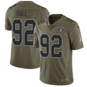 Wholesale Cheap Nike Raiders #92 P.J. Hall Olive Men's Stitched NFL Limited 2017 Salute To Service Jersey