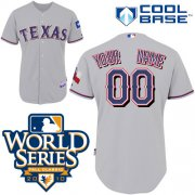 Wholesale Cheap Rangers Customized Authentic Grey Cool Base MLB Jersey w/2010 World Series Patch (S-3XL)