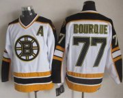 Wholesale Cheap Bruins #77 Ray Bourque White/Black CCM Throwback Stitched NHL Jersey