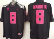 Wholesale Cheap Oregon Duck #8 Marcus Mariota 2014 Black With Purple Limited Jersey