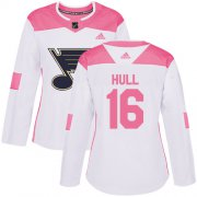 Wholesale Cheap Adidas Blues #16 Brett Hull White/Pink Authentic Fashion Women's Stitched NHL Jersey