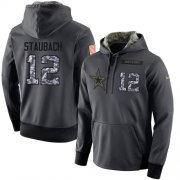 Wholesale Cheap NFL Men's Nike Dallas Cowboys #12 Roger Staubach Stitched Black Anthracite Salute to Service Player Performance Hoodie