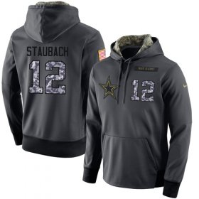 Wholesale Cheap NFL Men\'s Nike Dallas Cowboys #12 Roger Staubach Stitched Black Anthracite Salute to Service Player Performance Hoodie