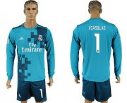 Wholesale Cheap Real Madrid #1 I.Casillas Sec Away Long Sleeves Soccer Club Jersey