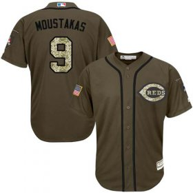 Wholesale Cheap Reds #9 Mike Moustakas Green Salute to Service Stitched MLB Jersey