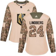 Wholesale Cheap Adidas Golden Knights #24 Oscar Lindberg Camo Authentic 2017 Veterans Day Women's Stitched NHL Jersey