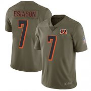 Wholesale Cheap Nike Bengals #7 Boomer Esiason Olive Youth Stitched NFL Limited 2017 Salute to Service Jersey