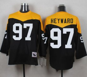 Wholesale Cheap Mitchell And Ness 1967 Steelers #97 Cameron Heyward Black/Yelllow Throwback Men\'s Stitched NFL Jersey