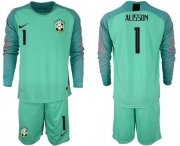 Wholesale Cheap Brazil #1 Alisson Green Goalkeeper Long Sleeves Soccer Country Jersey