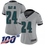 Wholesale Cheap Nike Eagles #24 Darius Slay Jr Silver Women's Stitched NFL Limited Inverted Legend 100th Season Jersey