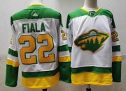 Wholesale Cheap Men's Minnesota Wild #22 Kevin Fiala 2021 White Retro Stitched NHL Jersey