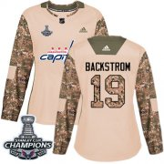 Wholesale Cheap Adidas Capitals #19 Nicklas Backstrom Camo Authentic 2017 Veterans Day Stanley Cup Final Champions Women's Stitched NHL Jersey