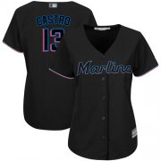 Wholesale Cheap Marlins #13 Starlin Castro Black Alternate Women's Stitched MLB Jersey