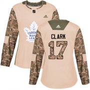 Wholesale Cheap Adidas Maple Leafs #17 Wendel Clark Camo Authentic 2017 Veterans Day Women's Stitched NHL Jersey