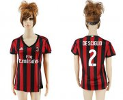 Wholesale Cheap Women's AC Milan #2 De Sciglio Home Soccer Club Jersey