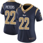 Wholesale Cheap Nike Rams #22 Marcus Peters Navy Blue Team Color Women's Stitched NFL Vapor Untouchable Limited Jersey