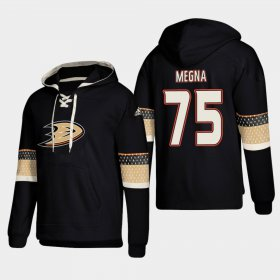 Wholesale Cheap Anaheim Ducks #75 Jaycob Megna Black adidas Lace-Up Pullover Hoodie