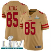 Wholesale Cheap Nike 49ers #85 George Kittle Gold Super Bowl LIV 2020 Men's Stitched NFL Limited Inverted Legend Jersey