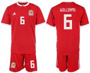 Wholesale Cheap Wales #6 Williams Home Soccer Country Jersey
