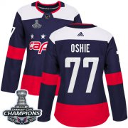 Wholesale Cheap Adidas Capitals #77 T.J. Oshie Navy Authentic 2018 Stadium Series Stanley Cup Final Champions Women's Stitched NHL Jersey