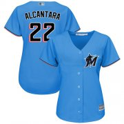 Wholesale Cheap Marlins #22 Sandy Alcantara Blue Alternate Women's Stitched MLB Jersey