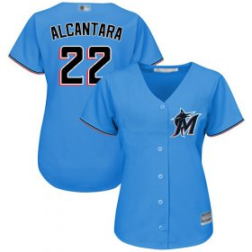 Wholesale Cheap Marlins #22 Sandy Alcantara Blue Alternate Women\'s Stitched MLB Jersey