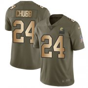 Wholesale Cheap Nike Browns #24 Nick Chubb Olive/Gold Youth Stitched NFL Limited 2017 Salute to Service Jersey